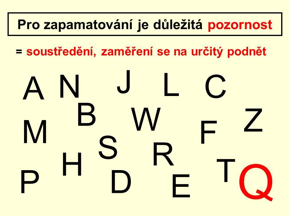 Pro zapamatování je důležitá pozornost = soustředění, zaměření se na určitý podnět N P L W J M A B E R H Z C S F T D Q