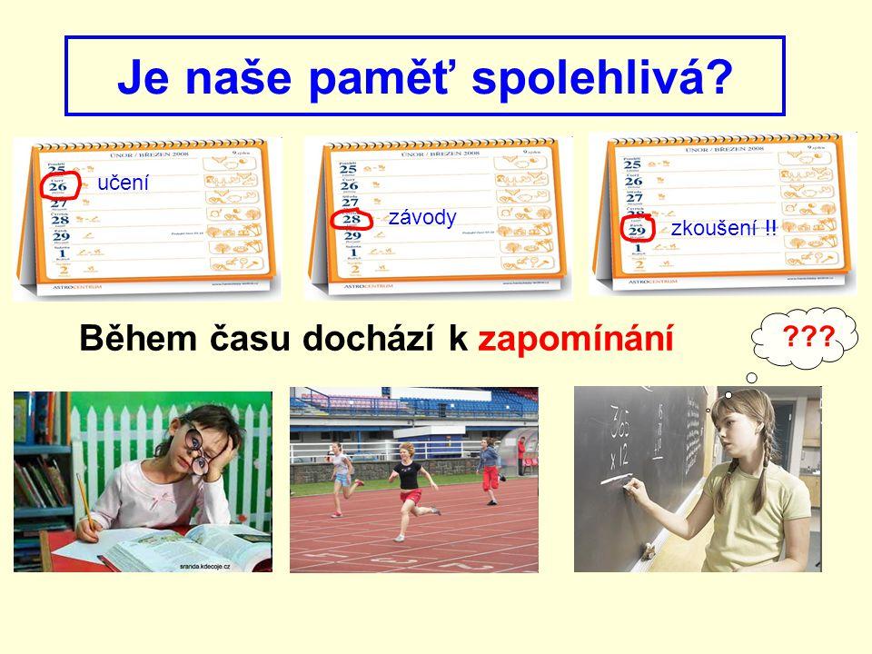 Je naše paměť spolehlivá? učení závody zkoušení !! ??? Během času dochází k zapomínání