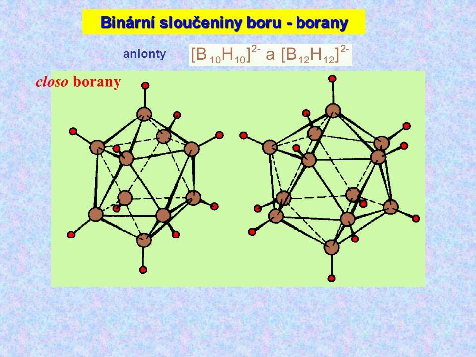 anionty closo borany Binární sloučeniny boru - borany