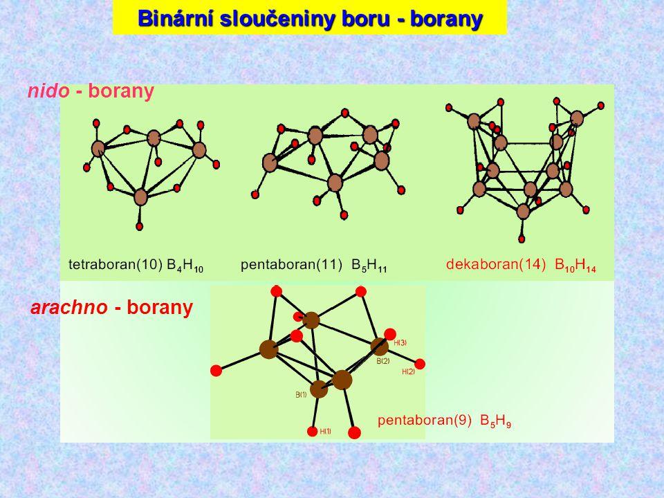 arachno - borany nido - borany Binární sloučeniny boru - borany