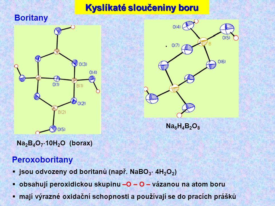 Na 2 B 4 O 7  10H 2 O (borax) Na 6 H 4 B 2 O 8 Boritany Peroxoboritany  jsou odvozeny od boritanů (např.