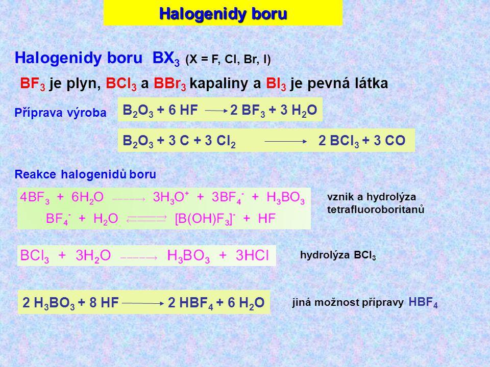 Halogenidy boru Halogenidy boru BX 3 (X = F, Cl, Br, I) BF 3 je plyn, BCl 3 a BBr 3 kapaliny a BI 3 je pevná látka B 2 O 3 + 6 HF 2 BF 3 + 3 H 2 O B 2 O 3 + 3 C + 3 Cl 2 2 BCl 3 + 3 CO Příprava výroba Reakce halogenidů boru 2 H 3 BO 3 + 8 HF2 HBF 4 + 6 H 2 O vznik a hydrolýza tetrafluoroboritanů hydrolýza BCl 3 jiná možnost přípravy HBF 4