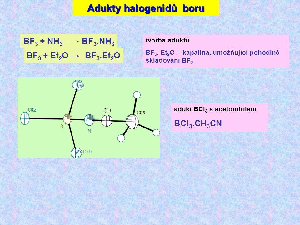 Adukty halogenidů boru BF 3 + NH 3 BF 3.NH 3 BF 3 + Et 2 OBF 3.Et 2 O tvorba aduktů BF 3.