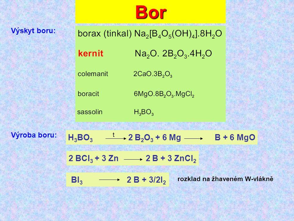 Bor Výskyt boru: Výroba boru: 2 BCl 3 + 3 Zn 2 B + 3 ZnCl 2 H 3 BO 3 2 B 2 O 3 + 6 Mg B + 6 MgO BI 3 2 B + 3/2I 2 t rozklad na žhaveném W-vlákně
