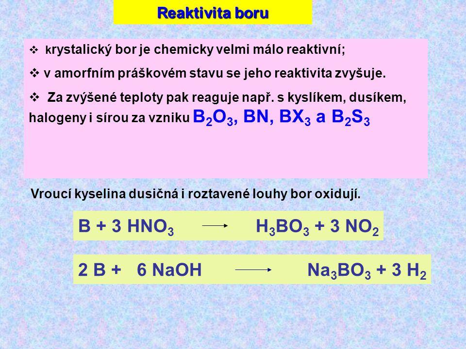 Reaktivita boru  k rystalický bor je chemicky velmi málo reaktivní;  v amorfním práškovém stavu se jeho reaktivita zvyšuje.
