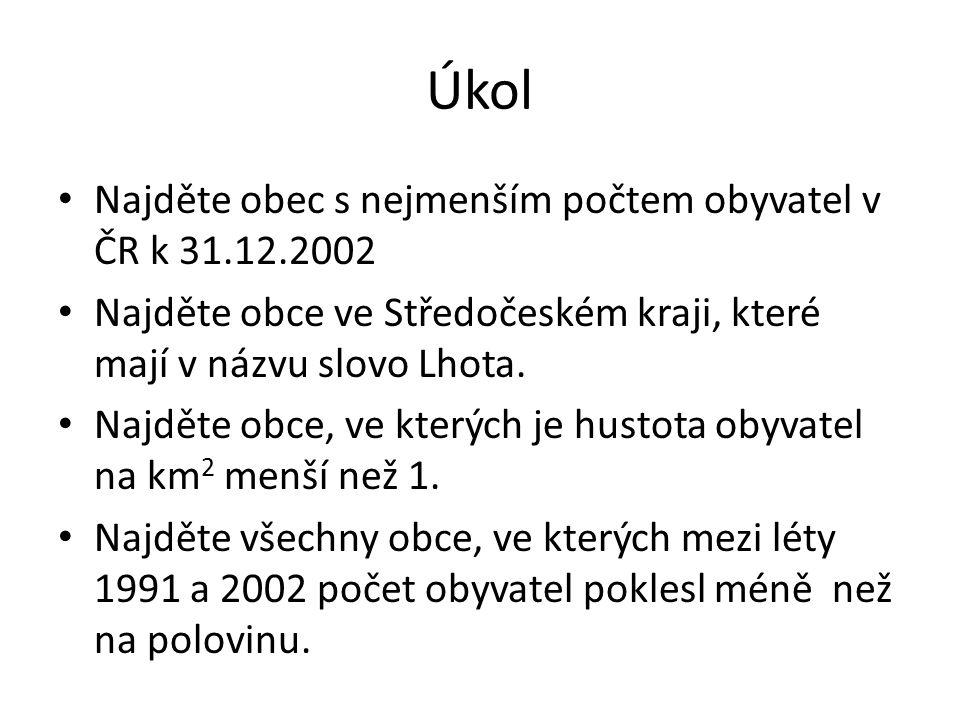 Úkol Najděte obec s nejmenším počtem obyvatel v ČR k 31.12.2002 Najděte obce ve Středočeském kraji, které mají v názvu slovo Lhota.
