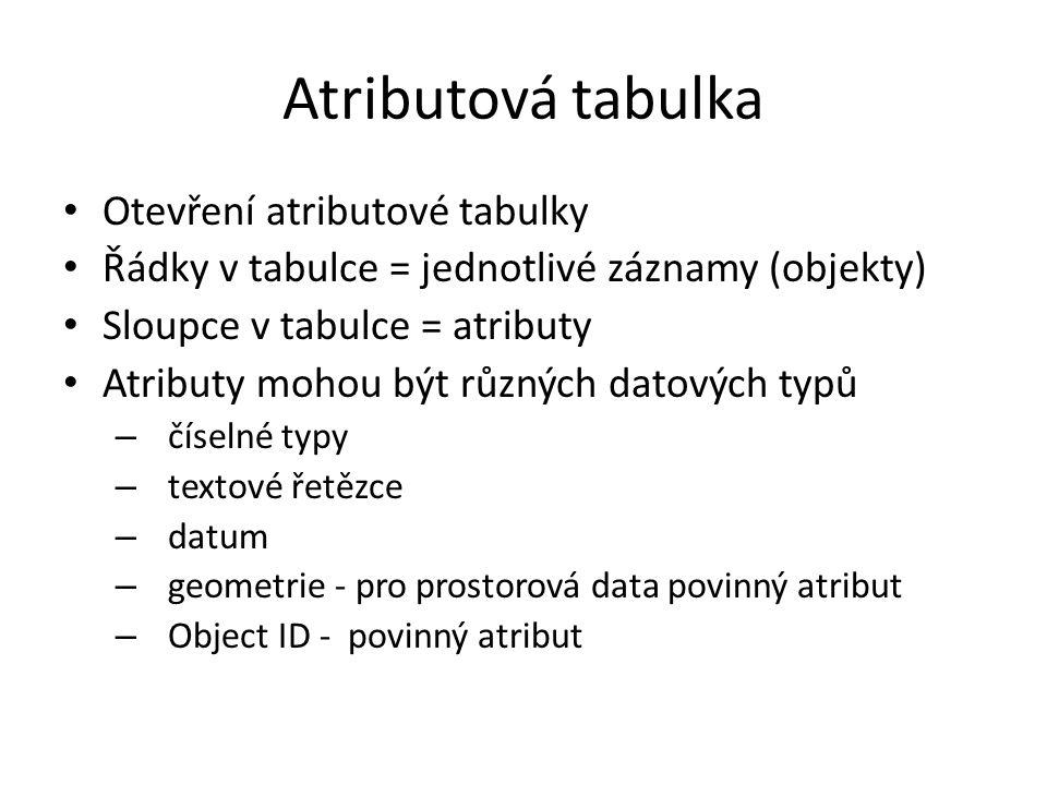 Atributová tabulka Otevření atributové tabulky Řádky v tabulce = jednotlivé záznamy (objekty) Sloupce v tabulce = atributy Atributy mohou být různých datových typů – číselné typy – textové řetězce – datum – geometrie - pro prostorová data povinný atribut – Object ID - povinný atribut