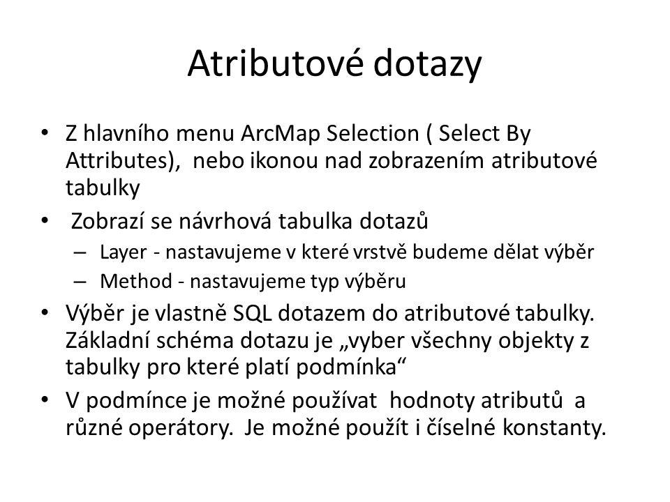 Atributové dotazy Z hlavního menu ArcMap Selection ( Select By Attributes), nebo ikonou nad zobrazením atributové tabulky Zobrazí se návrhová tabulka dotazů – Layer - nastavujeme v které vrstvě budeme dělat výběr – Method - nastavujeme typ výběru Výběr je vlastně SQL dotazem do atributové tabulky.