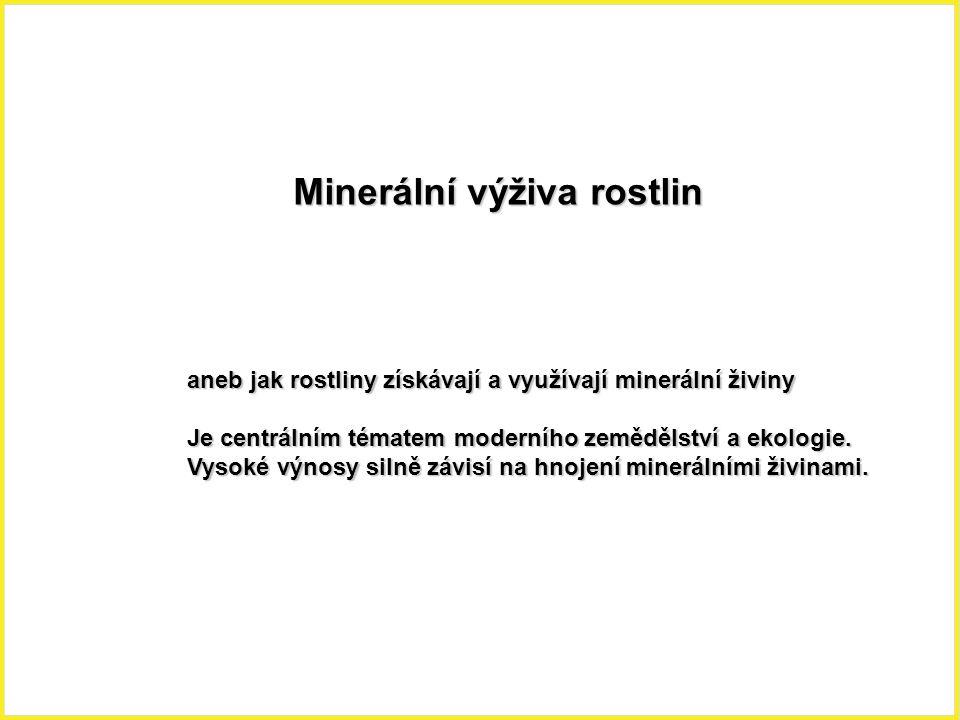 Minerální výživa rostlin aneb jak rostliny získávají a využívají minerální živiny Je centrálním tématem moderního zemědělství a ekologie. Vysoké výnos