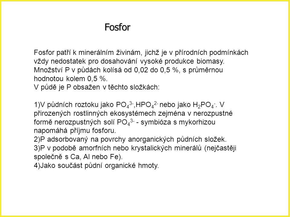 Fosfor Fosfor patří k minerálním živinám, jichž je v přírodních podmínkách vždy nedostatek pro dosahování vysoké produkce biomasy. Množství P v půdách