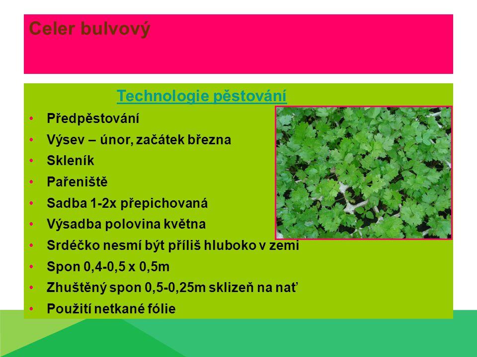 Celer bulvový Technologie pěstování Předpěstování Výsev – únor, začátek března Skleník Pařeniště Sadba 1-2x přepichovaná Výsadba polovina května Srdéčko nesmí být příliš hluboko v zemi Spon 0,4-0,5 x 0,5m Zhuštěný spon 0,5-0,25m sklizeň na nať Použití netkané fólie