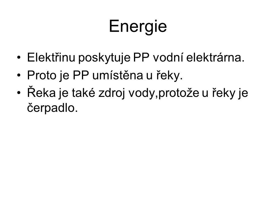 Energie Elektřinu poskytuje PP vodní elektrárna. Proto je PP umístěna u řeky. Řeka je také zdroj vody,protože u řeky je čerpadlo.