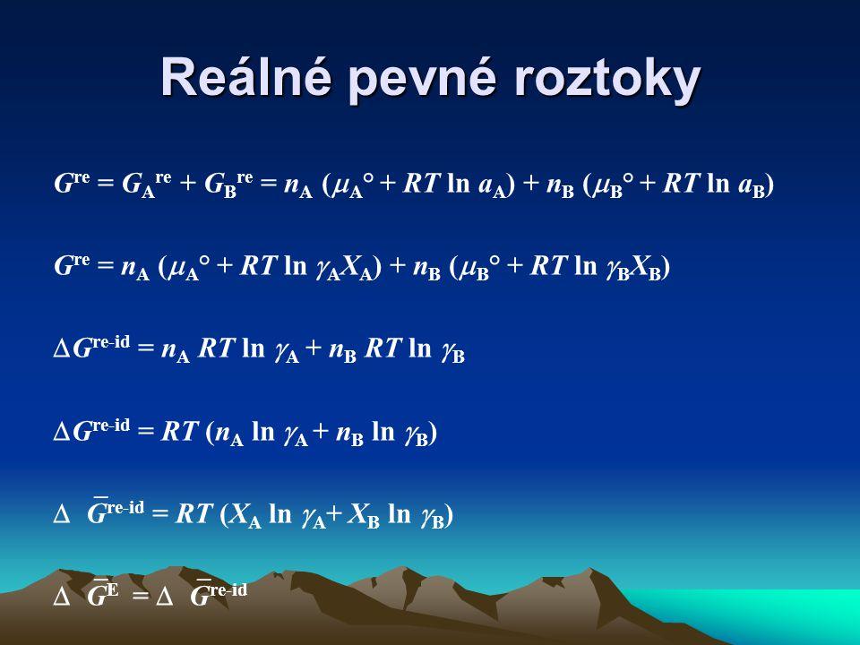 Reálné pevné roztoky G re = G A re + G B re = n A (  A ° + RT ln a A ) + n B (  B ° + RT ln a B ) G re = n A (  A ° + RT ln  A X A ) + n B (  B ° + RT ln  B X B )  G re-id = n A RT ln  A + n B RT ln  B  G re-id = RT (n A ln  A + n B ln  B )  G re-id = RT (X A ln  A + X B ln  B )  G E =  G re-id