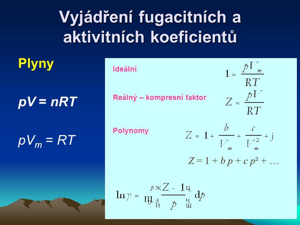 Vyjádření fugacitních a aktivitních koeficientů Plyny pV = nRT pV m = RT Z = 1 + b p + c p² + … Ideální Reálný – kompresní faktor Polynomy