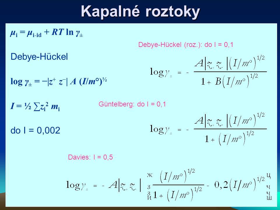 Kapalné roztoky μ i = μ i-id + RT ln γ ± Debye-Hückel log γ ± = −|z + z − | A (I/m°) ½ I = ½ ∑z i 2 m i do I = 0,002 Güntelberg: do I = 0,1 Davies: I = 0,5 Debye-Hückel (roz.): do I = 0,1