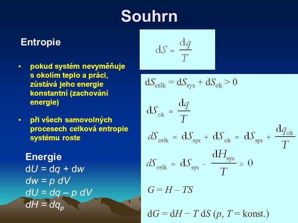 Souhrn pokud systém nevyměňuje s okolím teplo a práci, zůstává jeho energie konstantní (zachování energie) při všech samovolných procesech celková entropie systému roste Energie dU = dq + dw dw = p dV dU = dq – p dV dH = dq p Entropie dS celk = dS sys + dS ok > 0 G = H – TS dG = dH − T dS (p, T = konst.)