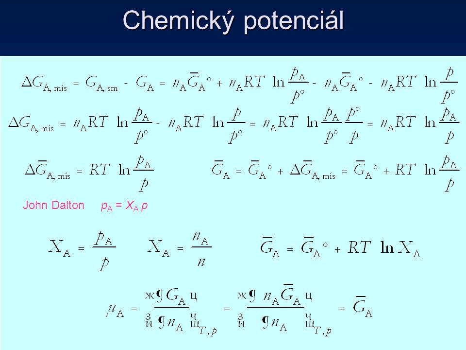 John Dalton p A = X A p Chemický potenciál