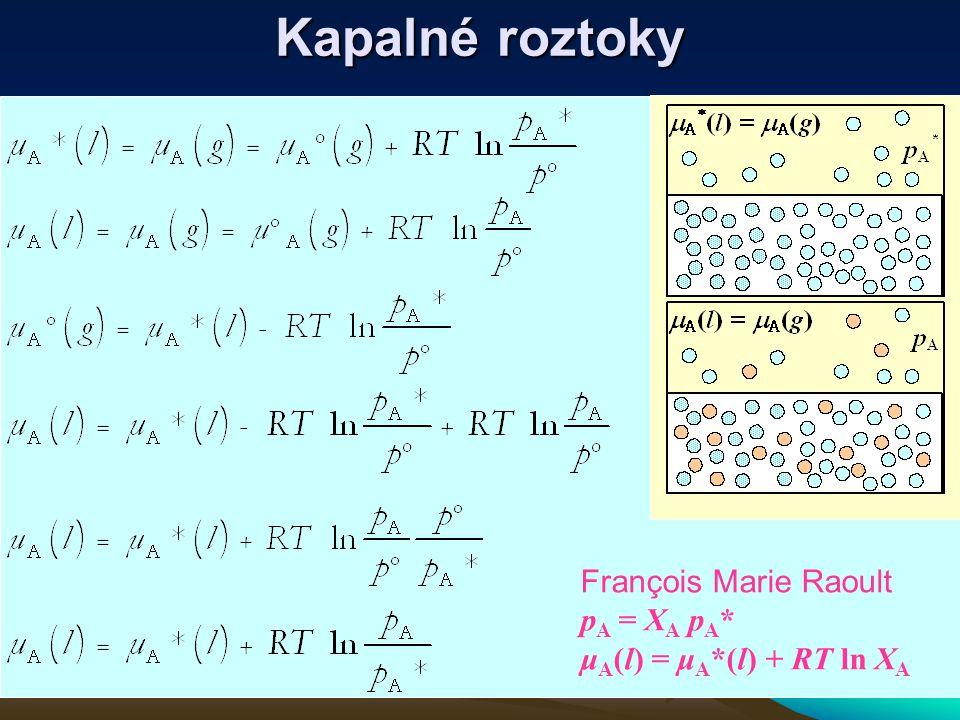 Kapalné roztoky François Marie Raoult p A = X A p A * μ A (l) = μ A *(l) + RT ln X A