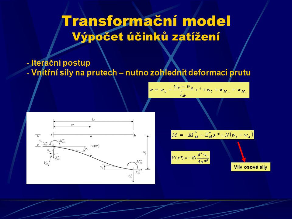 Transformační model Výpočet účinků zatížení - Iterační postup - Vnitřní síly na prutech – nutno zohlednit deformaci prutu Vliv osové síly