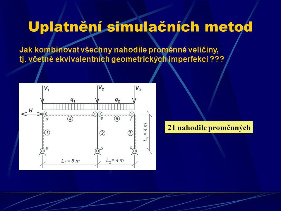 Uplatnění simulačních metod Jak kombinovat všechny nahodile proměnné veličiny, tj. včetně ekvivalentních geometrických imperfekcí ??? 21 nahodile prom