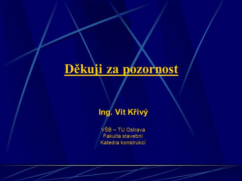 Děkuji za pozornost Ing. Vít Křivý VŠB – TU Ostrava Fakulta stavební Katedra konstrukcí