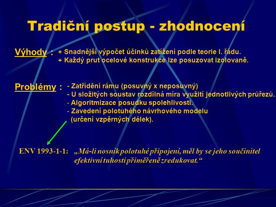 Tradiční postup - zhodnocení Výhody : + Snadnější výpočet účinků zatížení podle teorie I.