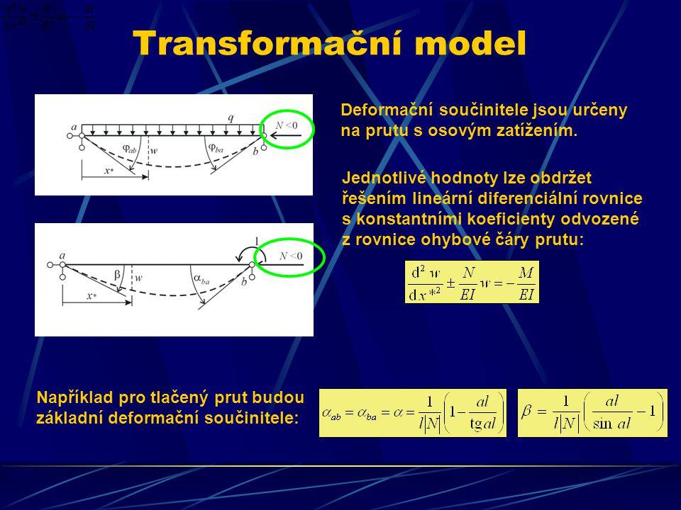 Transformační model Deformační součinitele jsou určeny na prutu s osovým zatížením. Jednotlivé hodnoty lze obdržet řešením lineární diferenciální rovn