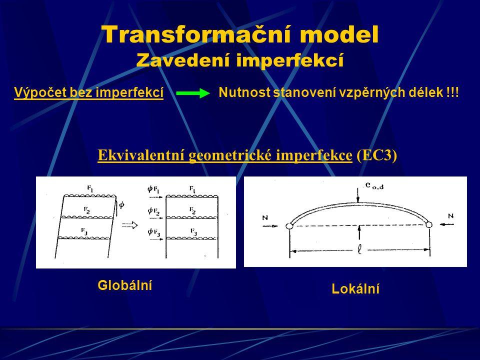 Transformační model Zavedení imperfekcí Výpočet bez imperfekcíNutnost stanovení vzpěrných délek !!! Ekvivalentní geometrické imperfekce (EC3) Globální