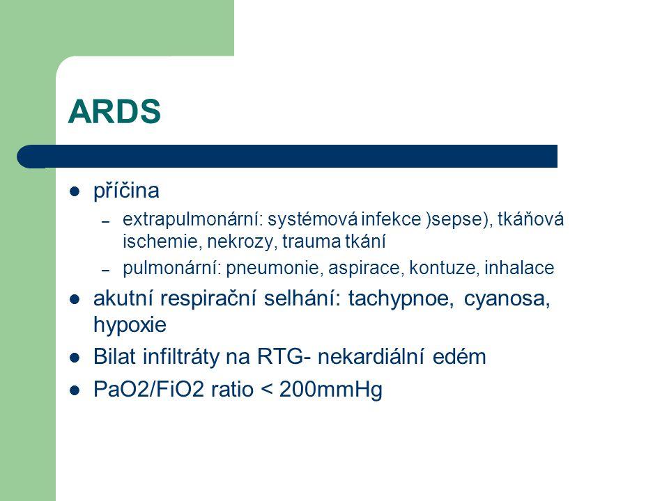 Kdy indikovat UPV ARDS DF 30-35/min hypoxemie (na masce s O2) nárůst paCO2 únava pacienta