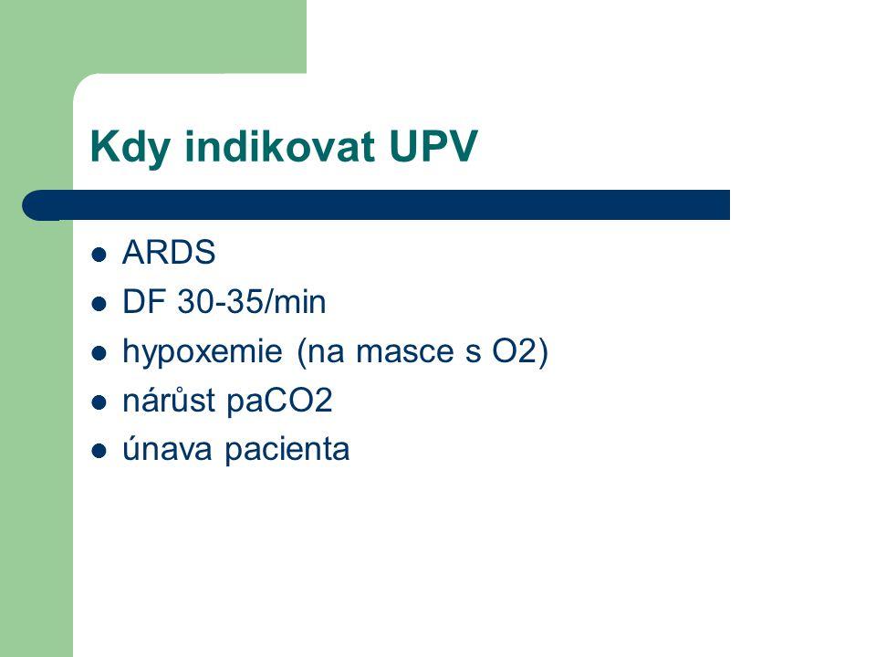 Komplikace UPV- ventilator-induced lung injuries (VILI) mikroskopické (biotrauma) vysoké tlaky (barotrauma ) vysoke objemy (volutrauma) emphyzém intersticiální pneumothorax subkutánní mediastinální (retroperitoneální) (peritoneální)