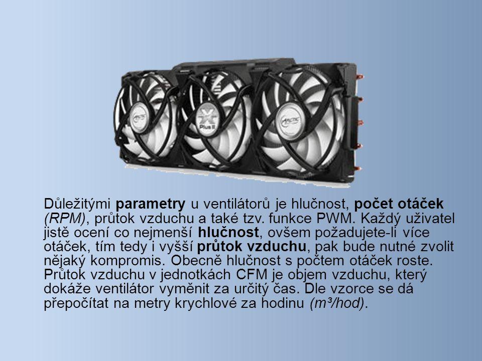 Důležitými parametry u ventilátorů je hlučnost, počet otáček (RPM), průtok vzduchu a také tzv.