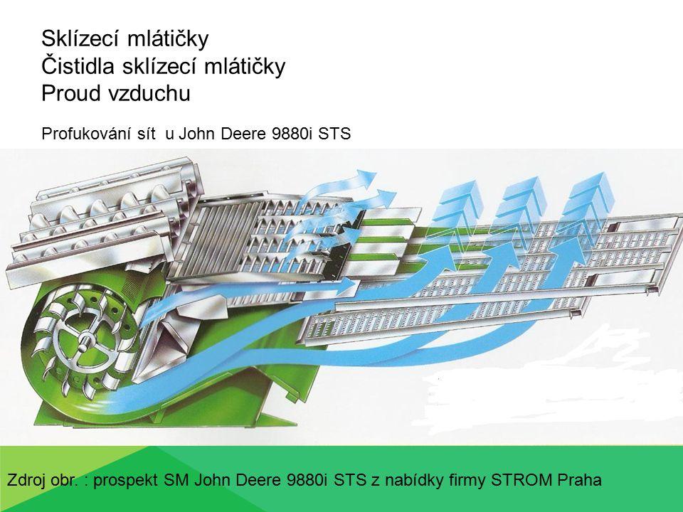 Sklízecí mlátičky Čistidla sklízecí mlátičky Proud vzduchu Profukování sít u John Deere C670 Zdroj obr.