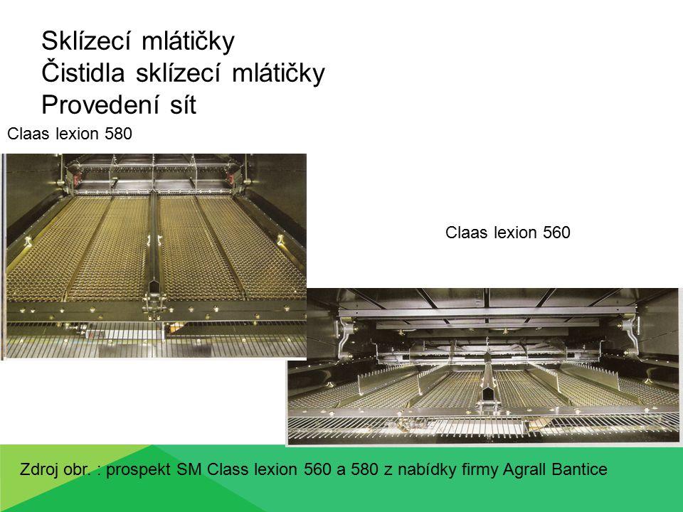 Sklízecí mlátičky Čistidla sklízecí mlátičky Provedení sít New Holland CX 8030 - kaskádový systém horního síta Zdroj obr.