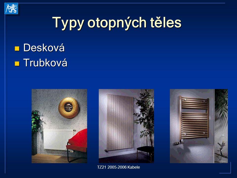 TZ21 2005-2006 Kabele Typy otopných těles Desková Desková Trubková Trubková