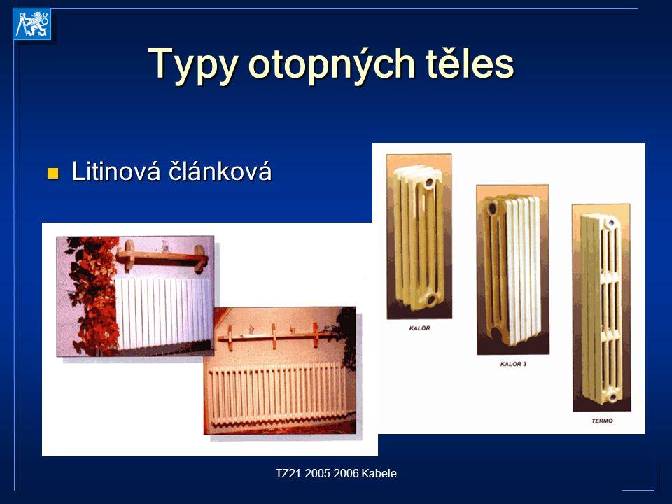 TZ21 2005-2006 Kabele Typy otopných těles Litinová článková Litinová článková