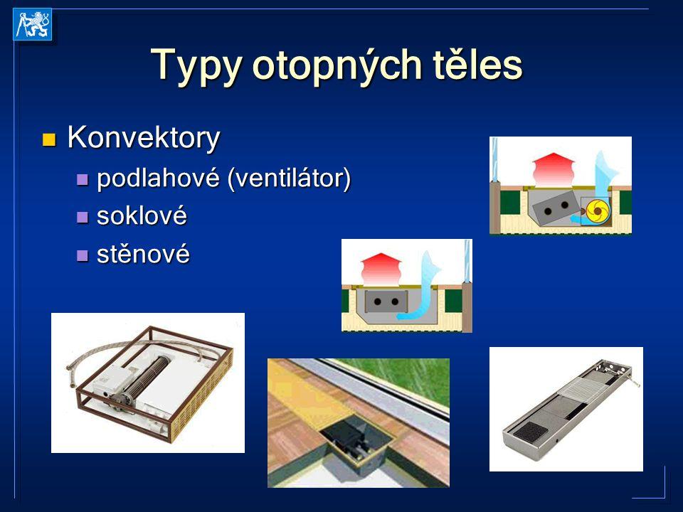 TZ21 2005-2006 Kabele Typy otopných těles Konvektory Konvektory podlahové (ventilátor) podlahové (ventilátor) soklové soklové stěnové stěnové