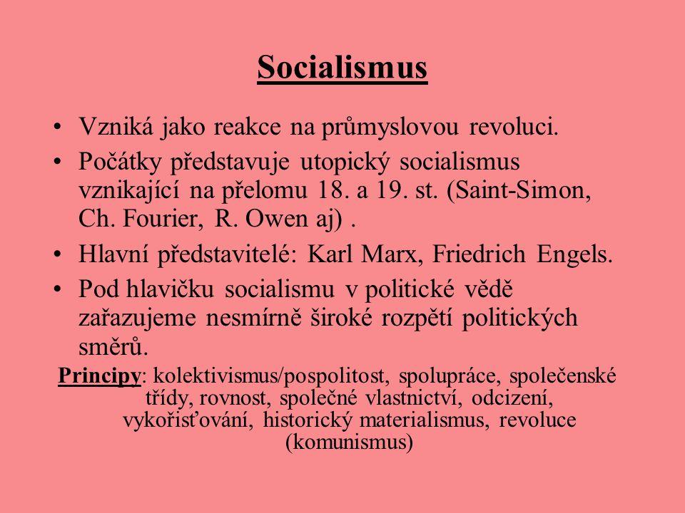 Socialismus Vzniká jako reakce na průmyslovou revoluci. Počátky představuje utopický socialismus vznikající na přelomu 18. a 19. st. (Saint-Simon, Ch.