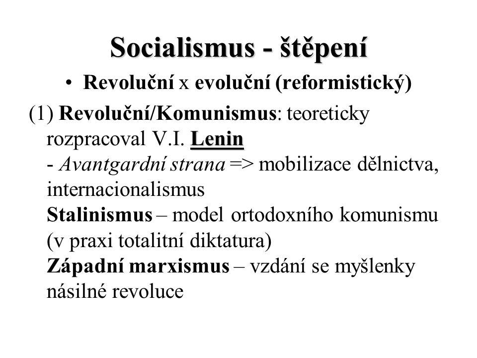 Socialismus - štěpení Revoluční x evoluční (reformistický) (2) Evoluční/Sociální demokracie: humanistická tradice; morální kritika kapitalismu; sblížení s moderním liberalismem - doktrína keynesianismu, vzestup státu blahobytu (welfare state) - Labour Party, FRA Socialistická strana - Třetí cesta (A.