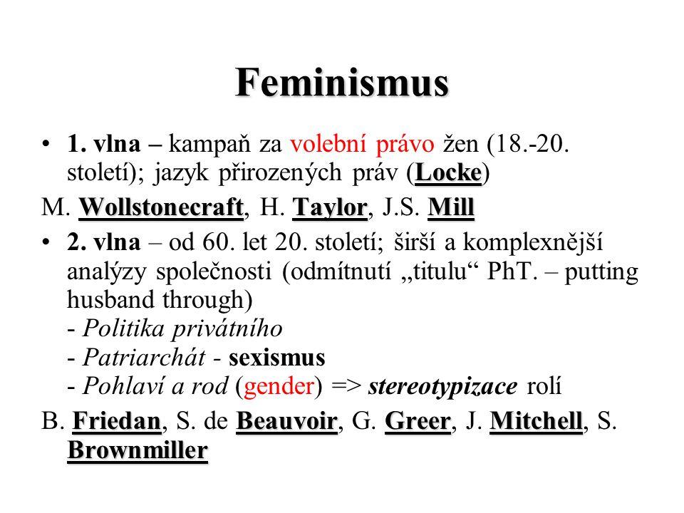 Feminismus 1. vlna – kampaň za volební právo žen (18.-20. století); jazyk přirozených práv (Locke) M. W WW Wollstonecraft, H. T TT Taylor, J.S. M MM M