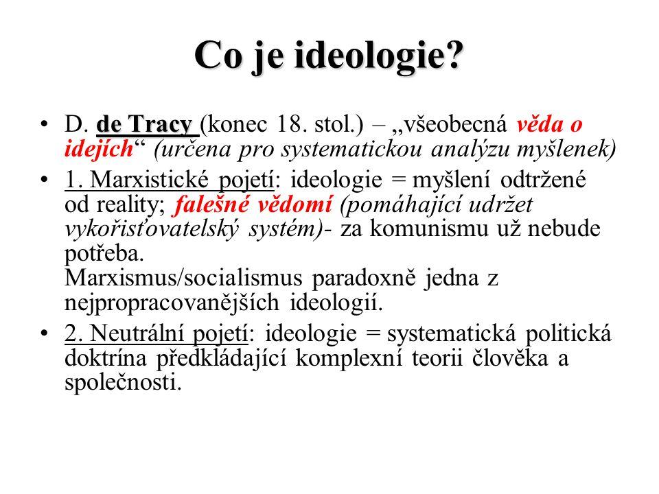 """Co je ideologie? D. d dd de Tracy (konec 18. stol.) – """"všeobecná věda o idejích"""" (určena pro systematickou analýzu myšlenek) 1. Marxistické pojetí: id"""