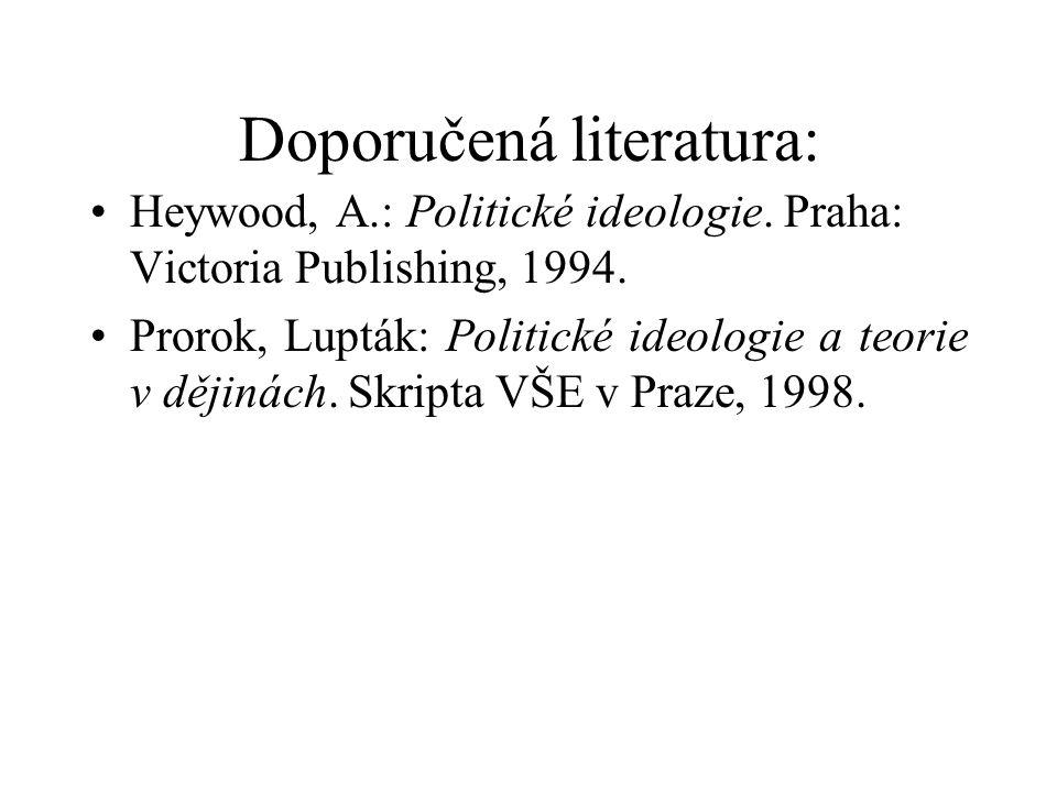 Doporučená literatura: Heywood, A.: Politické ideologie. Praha: Victoria Publishing, 1994. Prorok, Lupták: Politické ideologie a teorie v dějinách. Sk