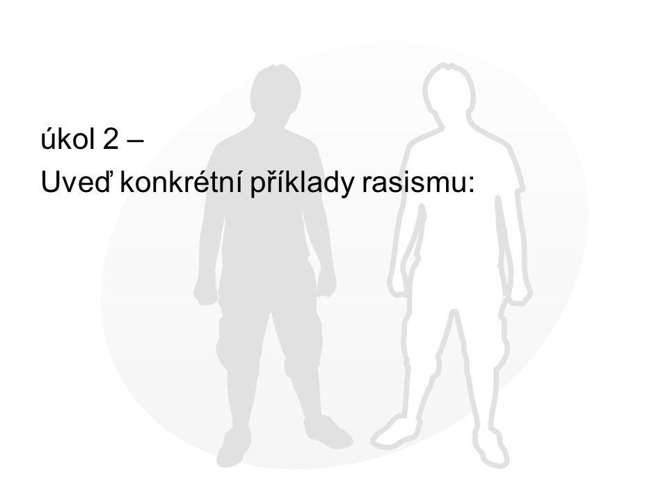 úkol 2 – Uveď konkrétní příklady rasismu: