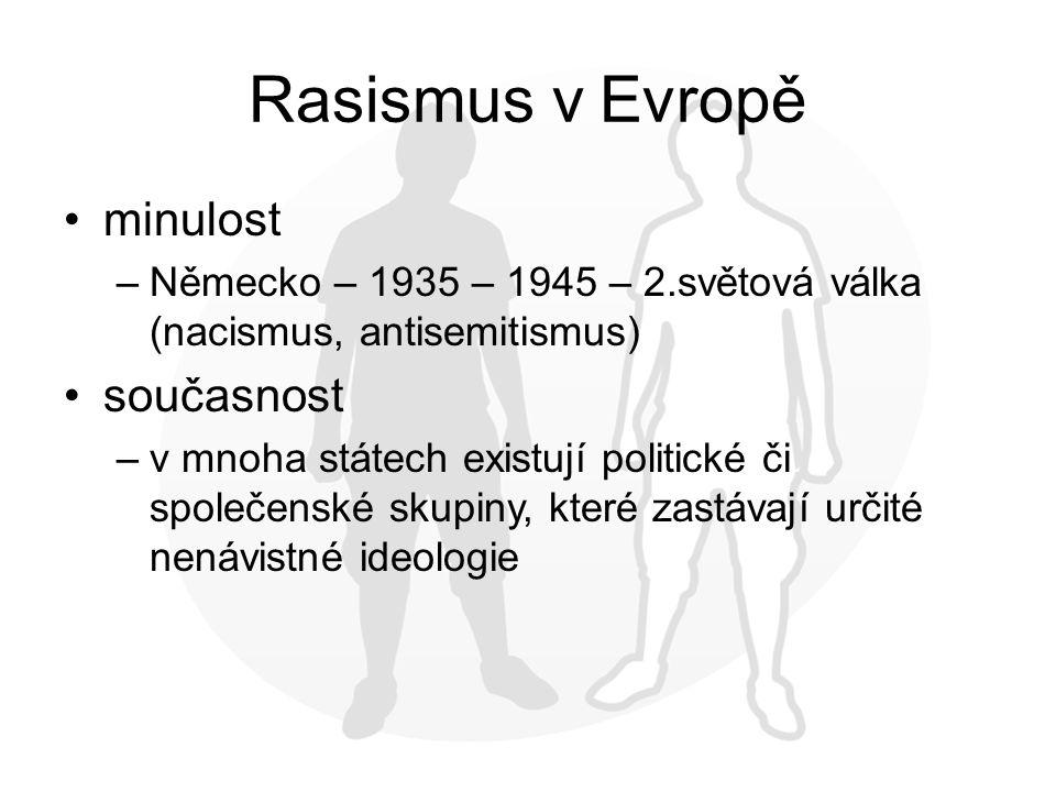 Rasismus v Evropě minulost –Německo – 1935 – 1945 – 2.světová válka (nacismus, antisemitismus) současnost –v mnoha státech existují politické či společenské skupiny, které zastávají určité nenávistné ideologie