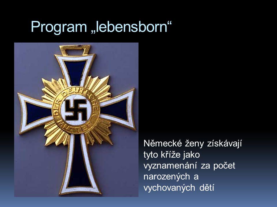 """Program """"lebensborn Německé ženy získávají tyto kříže jako vyznamenání za počet narozených a vychovaných dětí"""