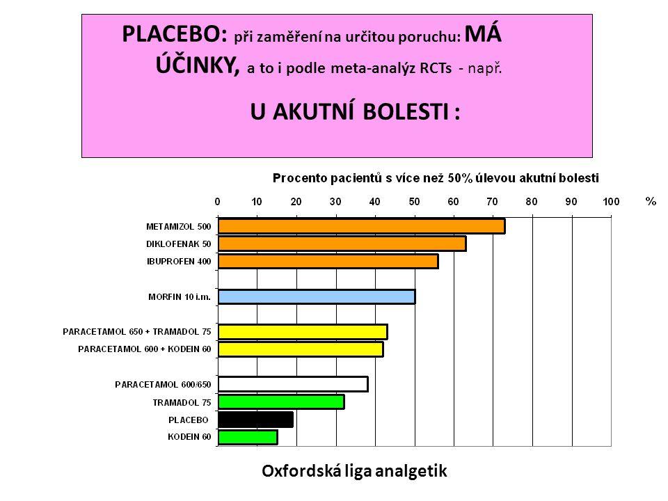 Oxfordská liga analgetik PLACEBO: při zaměření na určitou poruchu: MÁ ÚČINKY, a to i podle meta-analýz RCTs - např. U AKUTNÍ BOLESTI : Oxfordská liga