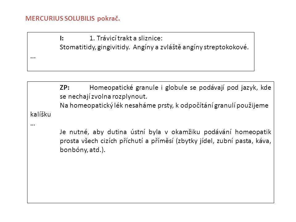 I:1. Trávicí trakt a sliznice: Stomatitidy, gingivitidy. Angíny a zvláště angíny streptokokové.... ZP:Homeopatické granule i globule se podávají pod j
