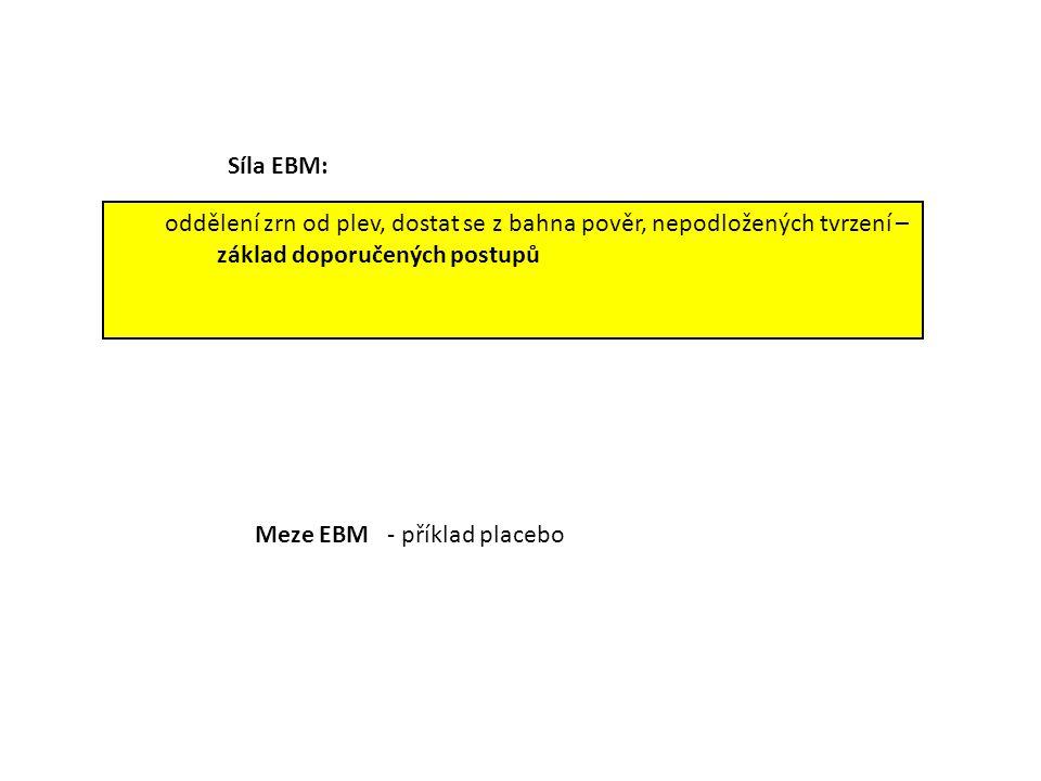 oddělení zrn od plev, dostat se z bahna pověr, nepodložených tvrzení – základ doporučených postupů Meze EBM - příklad placebo Síla EBM: