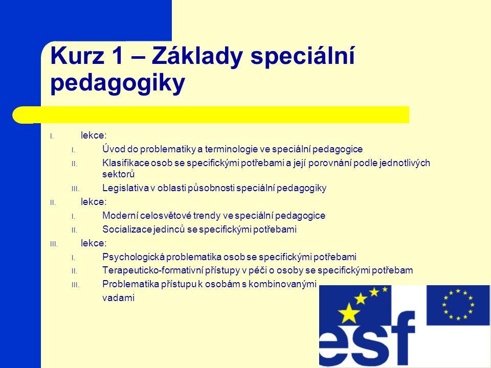 Kurz 1 – Základy speciální pedagogiky I.lekce: I.
