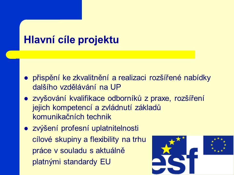Hlavní cíle projektu přispění ke zkvalitnění a realizaci rozšířené nabídky dalšího vzdělávání na UP zvyšování kvalifikace odborníků z praxe, rozšíření jejich kompetencí a zvládnutí základů komunikačních technik zvýšení profesní uplatnitelnosti cílové skupiny a flexibility na trhu práce v souladu s aktuálně platnými standardy EU