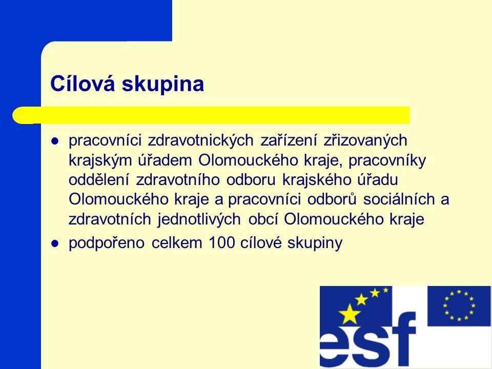 Cílová skupina pracovníci zdravotnických zařízení zřizovaných krajským úřadem Olomouckého kraje, pracovníky oddělení zdravotního odboru krajského úřadu Olomouckého kraje a pracovníci odborů sociálních a zdravotních jednotlivých obcí Olomouckého kraje podpořeno celkem 100 cílové skupiny